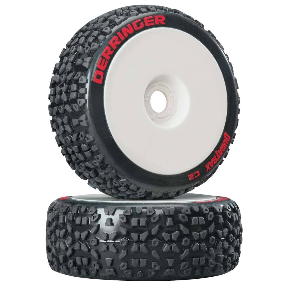 Duratrax DTXC3635 Derringer C2 Mounted Buggy Tire - White, 2ct, 1/8
