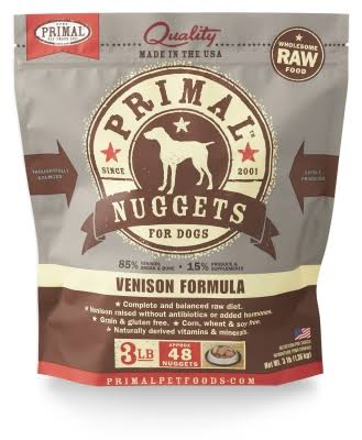 Primal Nuggets Venison Formula Raw Frozen Dog Food, 3 lb