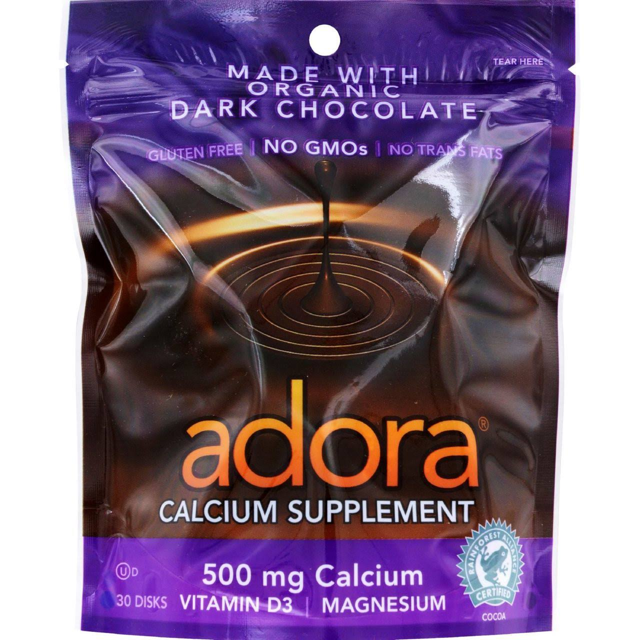 Adora Calcium Supplement Disk - Organic Dark Chocolate, 30 Count