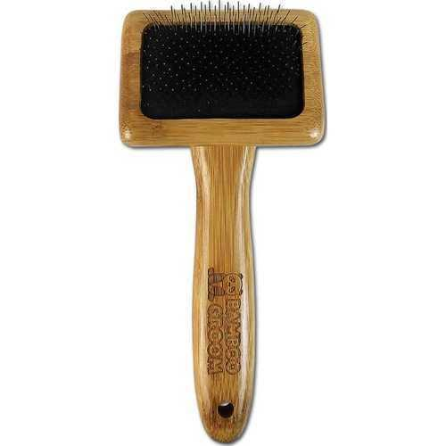 Bamboo Groom Slicker Brush with Stainless Steel Pins for Pets, Small