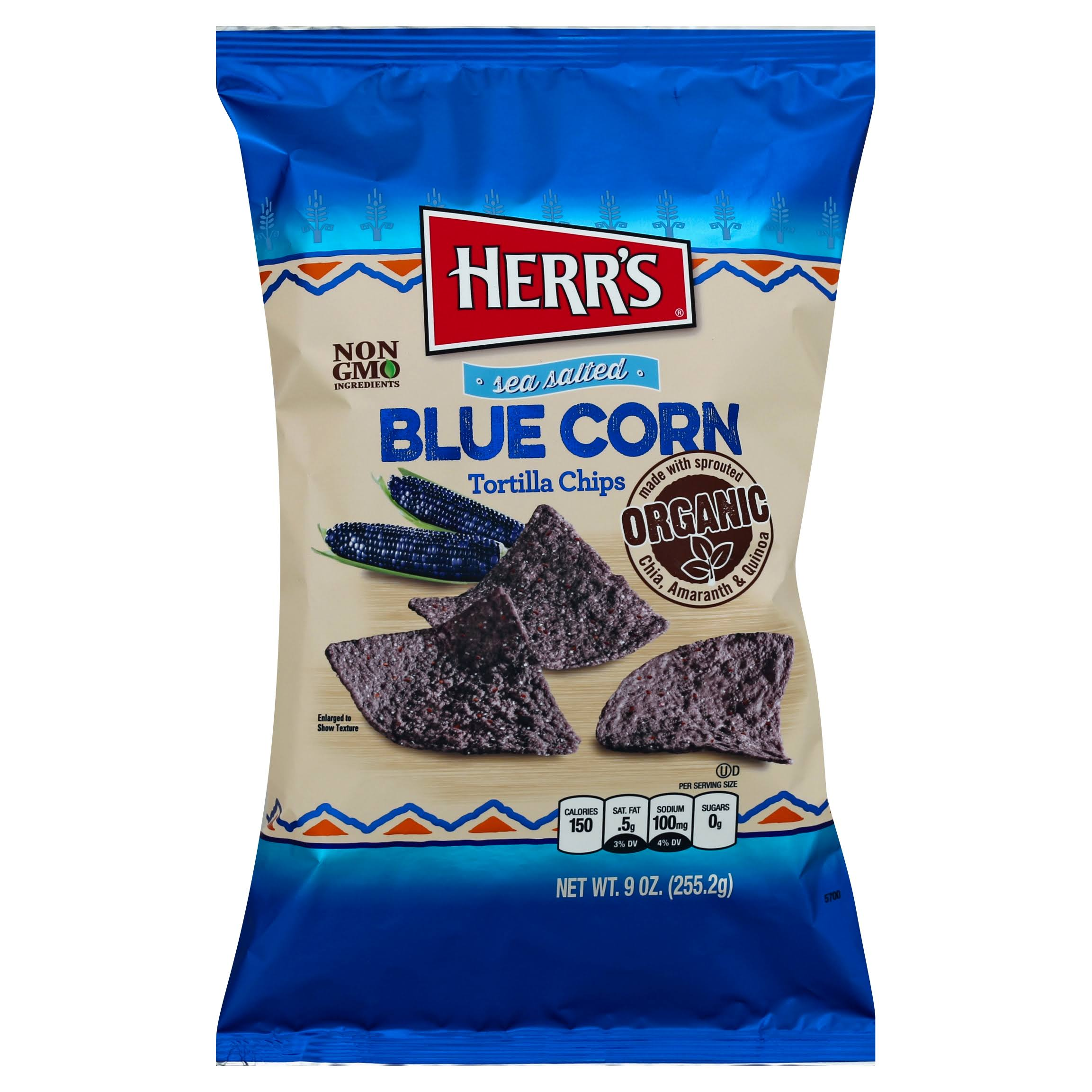 Herrs Tortilla Chips, Blue Corn, Sea Salted - 9 oz