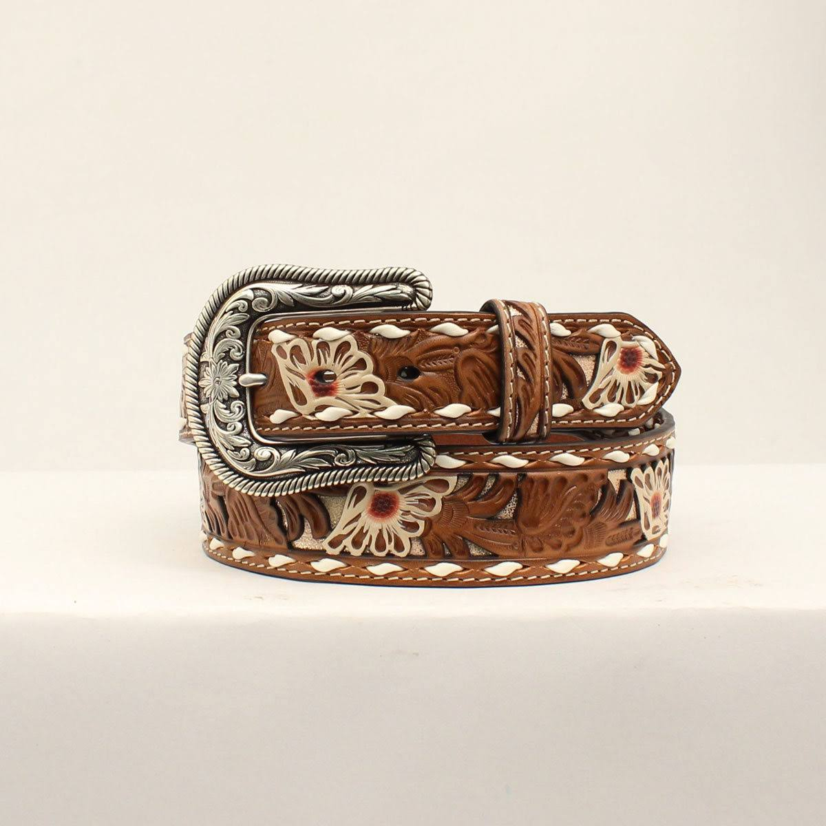 Nocona N320001208-M 1.50 in. Painted Flowers Embossing Pierced Ladies Belt Tan - Medium