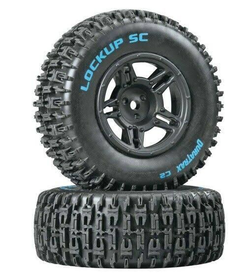 Duratrax Lockup SC Tire C2 Mounted - Black Slash Blitz SCRT10, 2pc