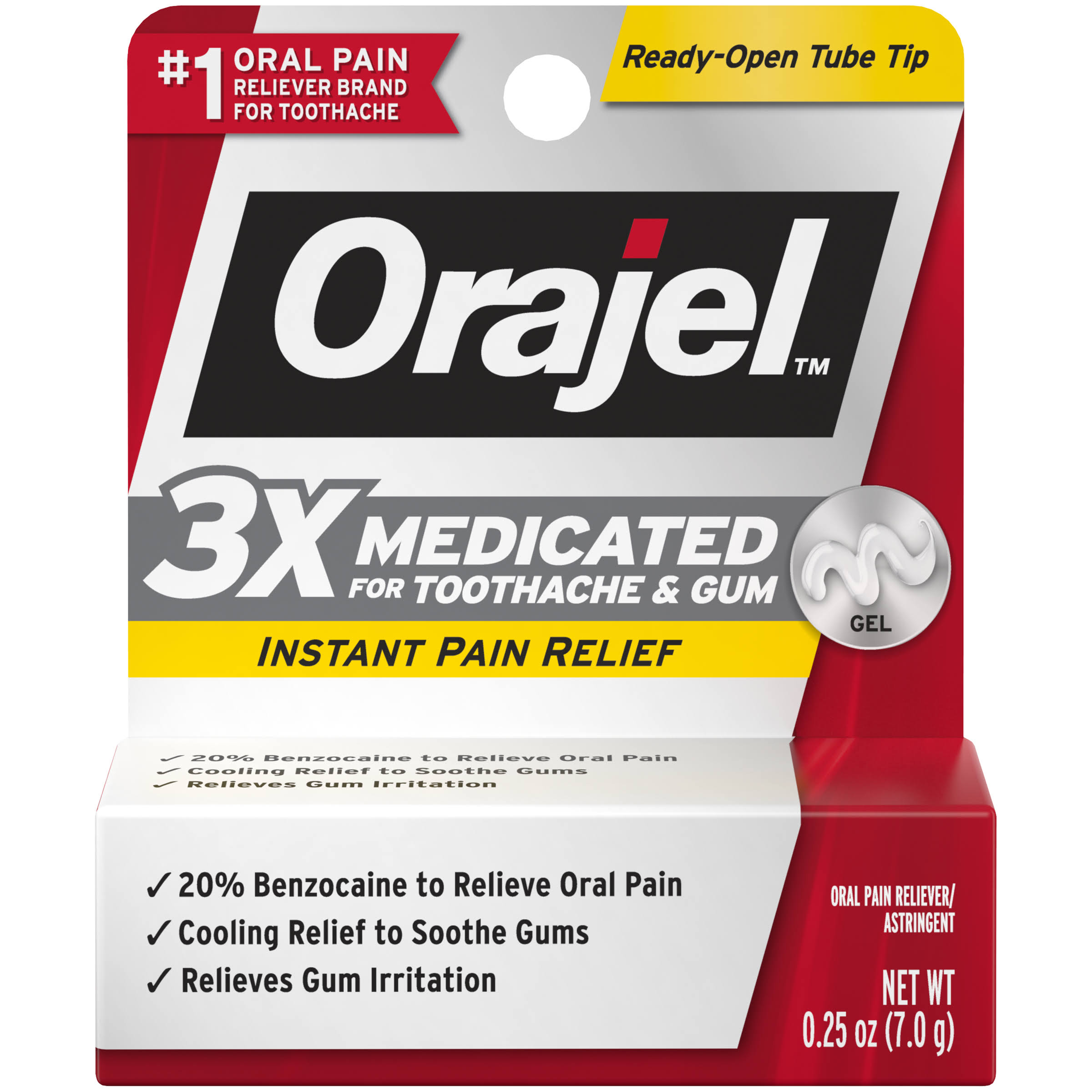 Orajel Maximum Strength Toothache Pain Relief Double Medicated Gel - 0.25oz