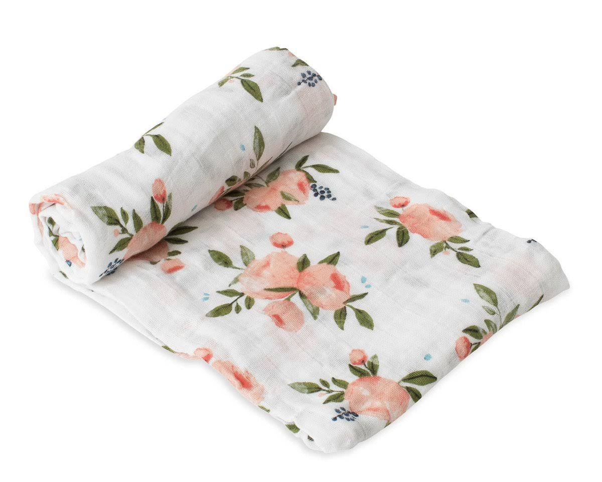 Little Unicorn Cotton Muslin Swaddle Watercolor Roses