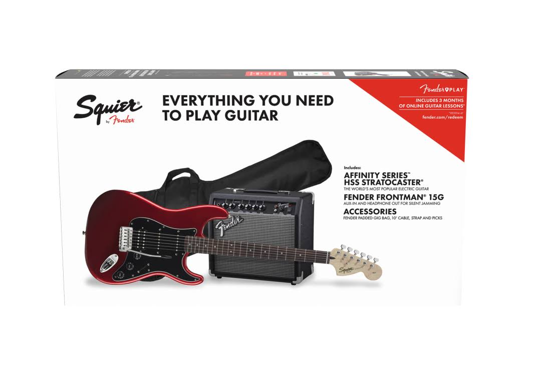 Fender Squier Affinity Series Stratocaster HSS Electric Guitar Pack W Frontman - 15G, 120V