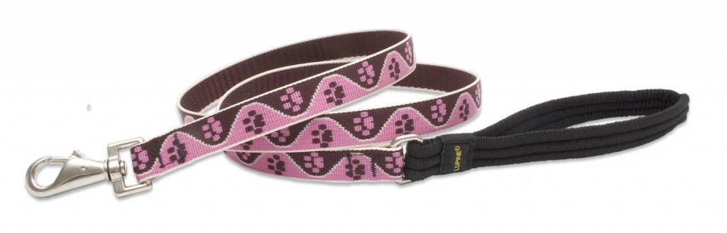 "LupinePet Originals Padded Handle Dog Leash - for Medium and Larger Dogs, 3/4"" x 6', Tickled Pink"