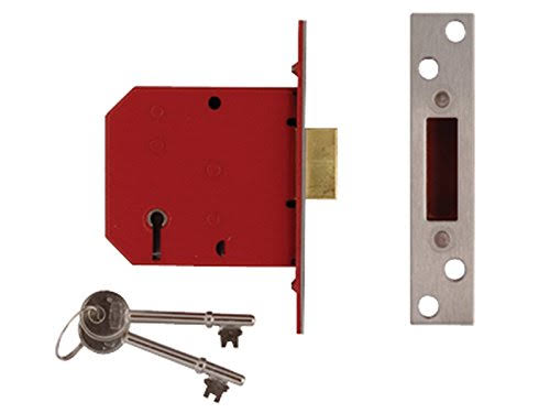 Union Locks 5 Lever Mortice Deadlock - Brass Finish, 77.5mm