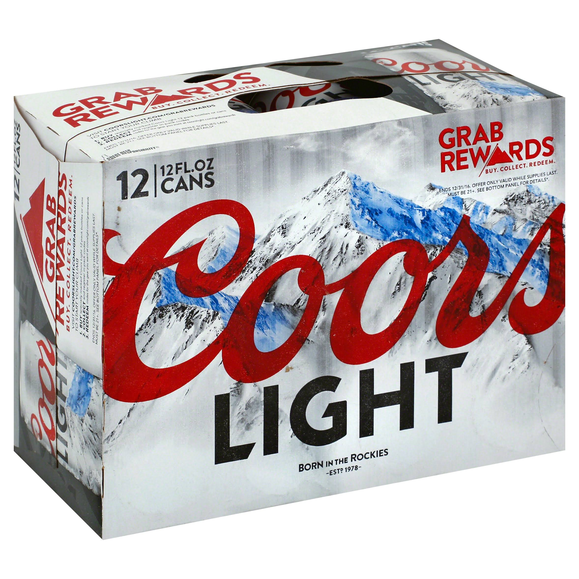 Coors Light Beer, Light - 12 pack, 12 fl oz cans