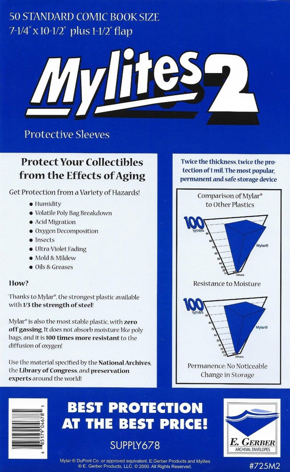 E. Gerber Mylites 2 Protective Sleeves - 50 Standard Comic Book Size