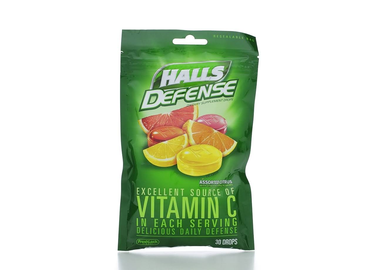 Halls Defense Vitamin C Supplement Cough Drops, Assorted Citrus - 30 count