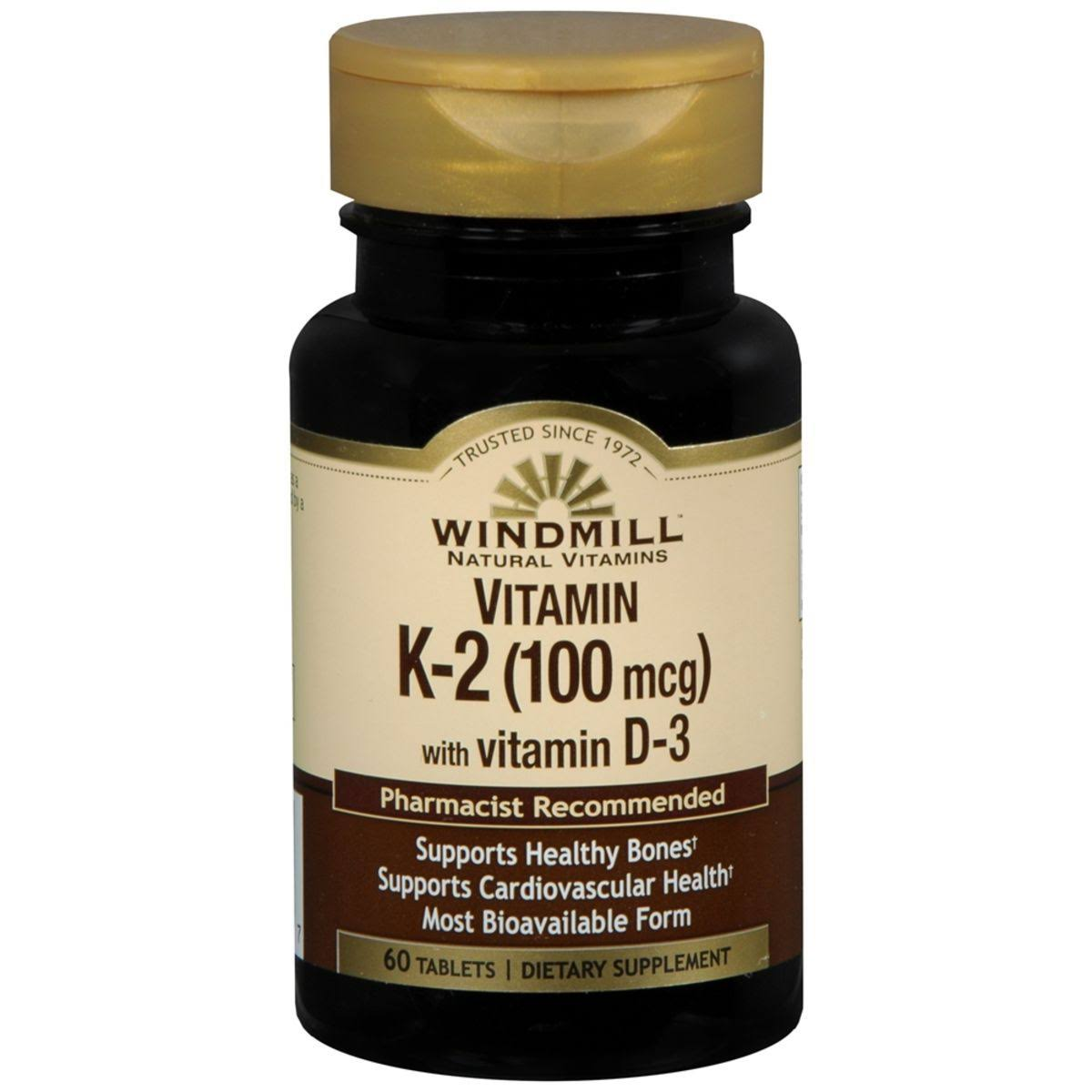 Windmill Vitamin K2 100mcg with Vitamin D3 - 60 Tablets