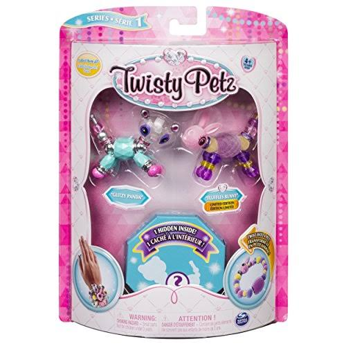 Twisty Petz Glitzy Panda, Fluffles Bunny and Surprise Collectible Bracelet Set