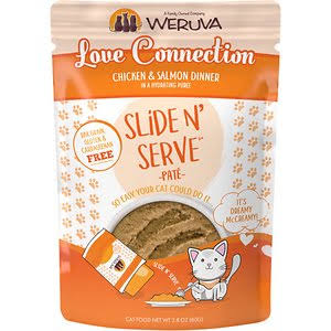 Weruva Slide N' Serve Grain Free Love Connection Chicken & Salmon Dinner Wet Cat Food Pouch - 2.8-oz, Case of 12