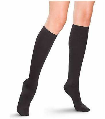 Therafirm Women's Support Trouser Socks - 15-20mmHg, Mild Compression, Black, Large