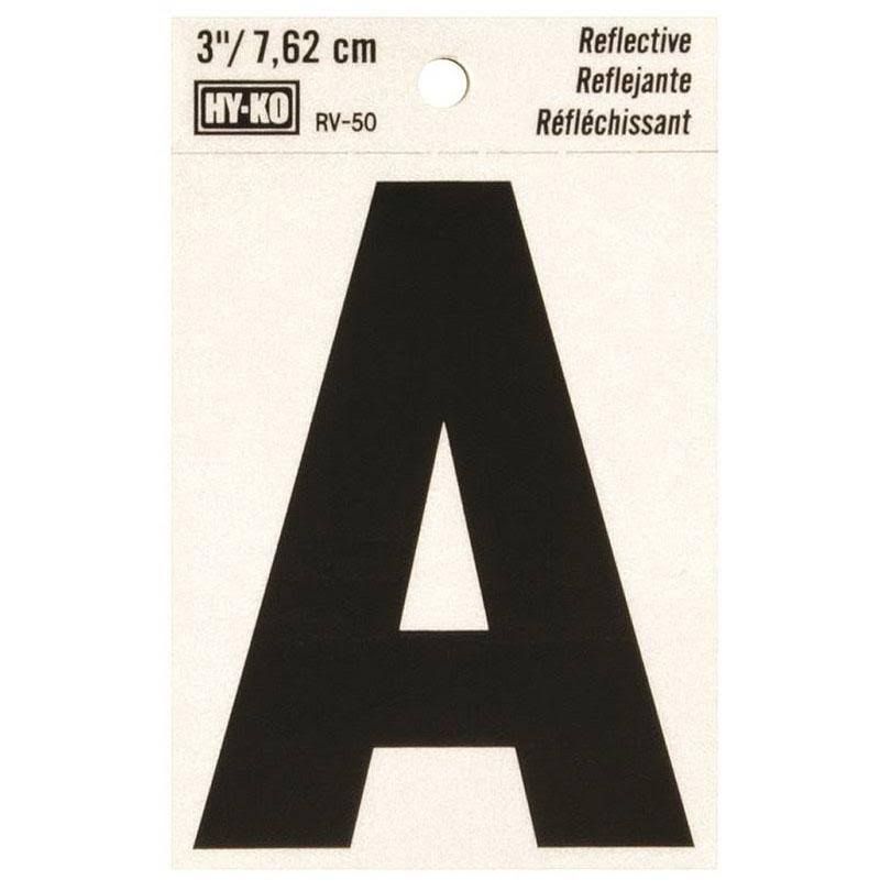 Hy-Ko Letter A Reflective Vinyl Adhesive - 3""