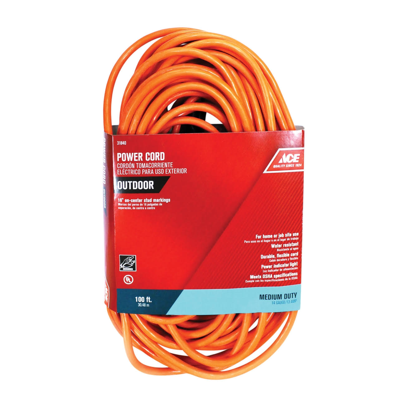 ACE Outdoor Power Cord - Orange, 100'