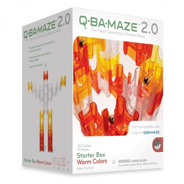 Q-Ba-Maze 2.0 Marble Run Starter Set, Warm Colors