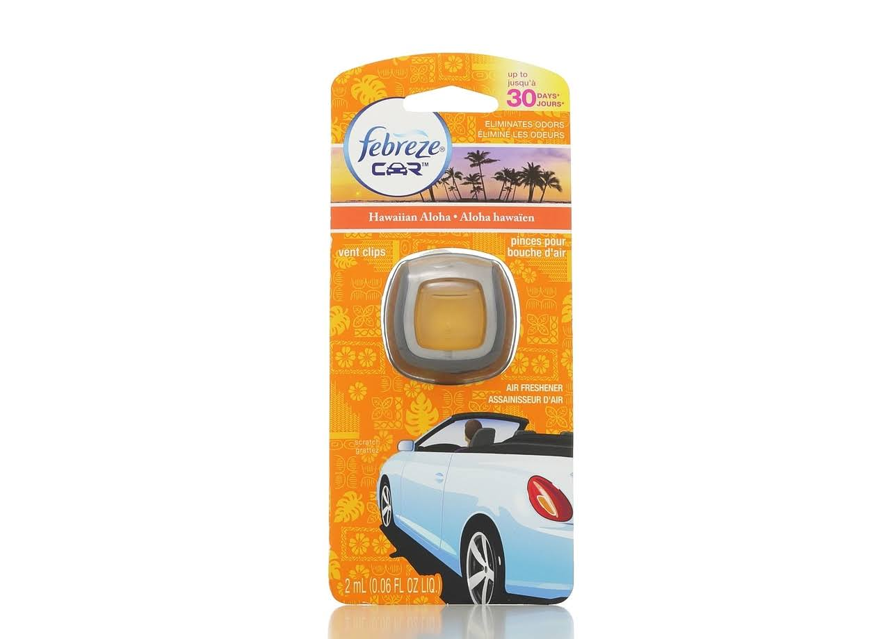 Febreze Car Air Freshener Vent Clips - Hawaiian Aloha, 0.06oz