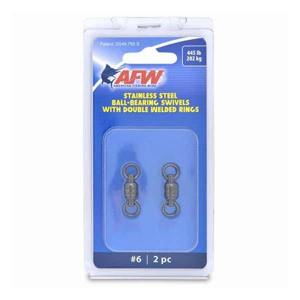 American Fishing Wire AFW Size #6 445Lb Stainless Steel Ball Bearing Swivels, 2PC - FWV06B-A