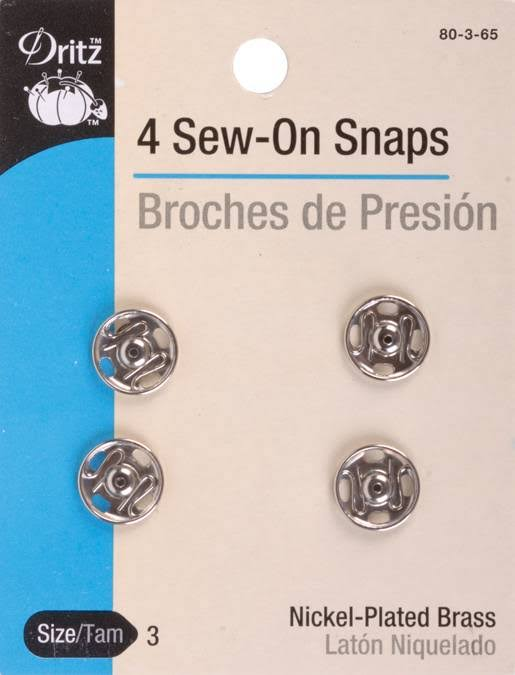 Dritz Nickel Sew-On Snaps - 4 Pack