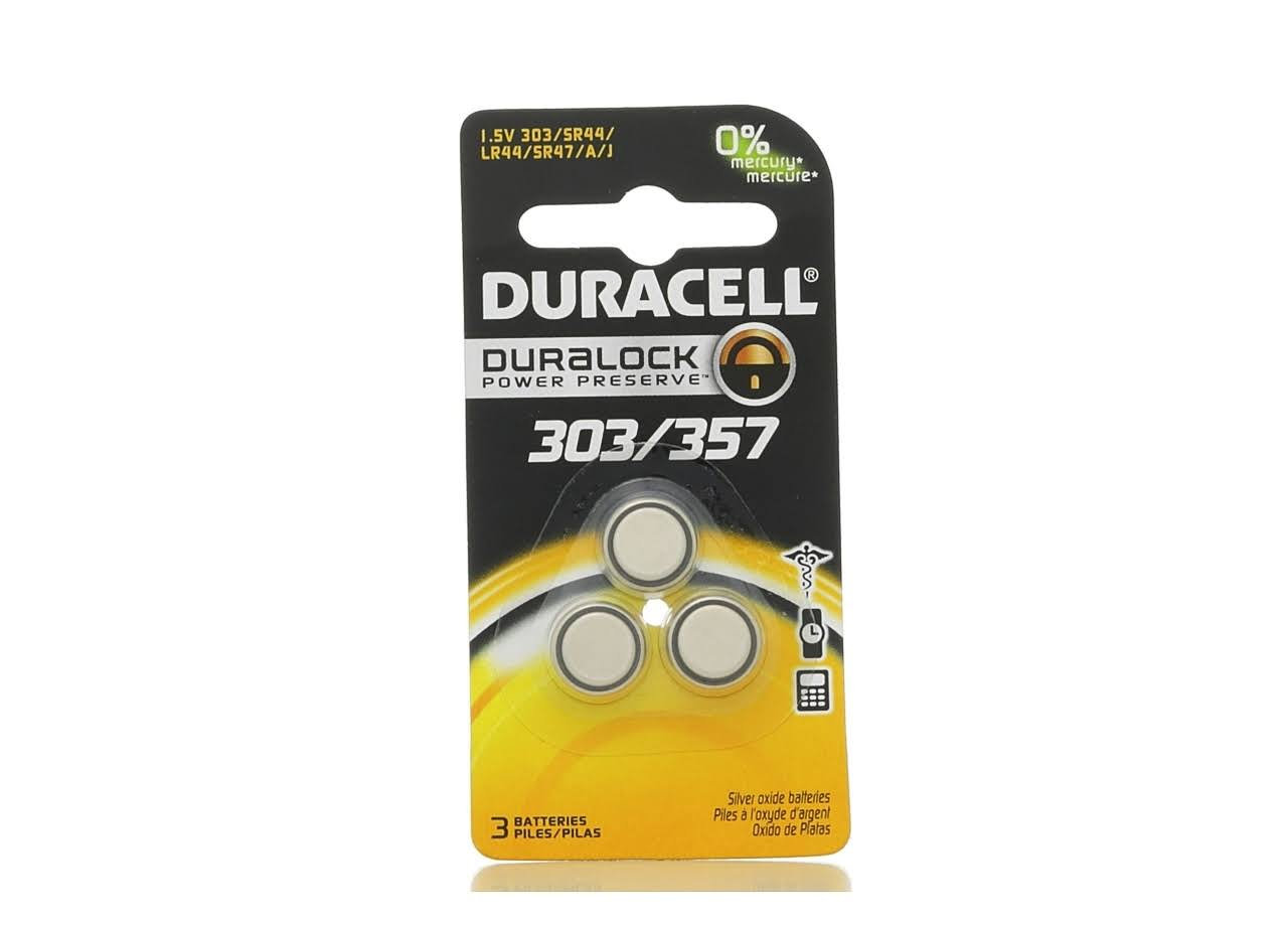 Duracell 303/357 Coin Button Battery - 3 Batteries, 1.5V