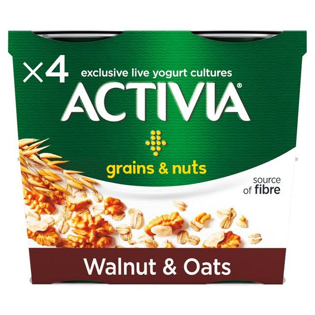 Activia Walnut and Oats Yogurt - 4 x 120g
