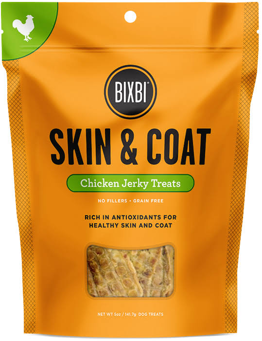 Bixbi Skin and Coat Jerky Treat - Chicken, 5oz