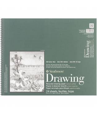 Strathmore 400 Series Wire Bound Recycled Drawing Paper - 14in x 17in, 24 Sheets