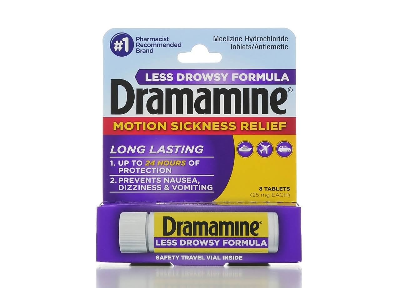 Dramamine All Day Less Drowsy Meclizine Hydrochloride Tablets - 8ct