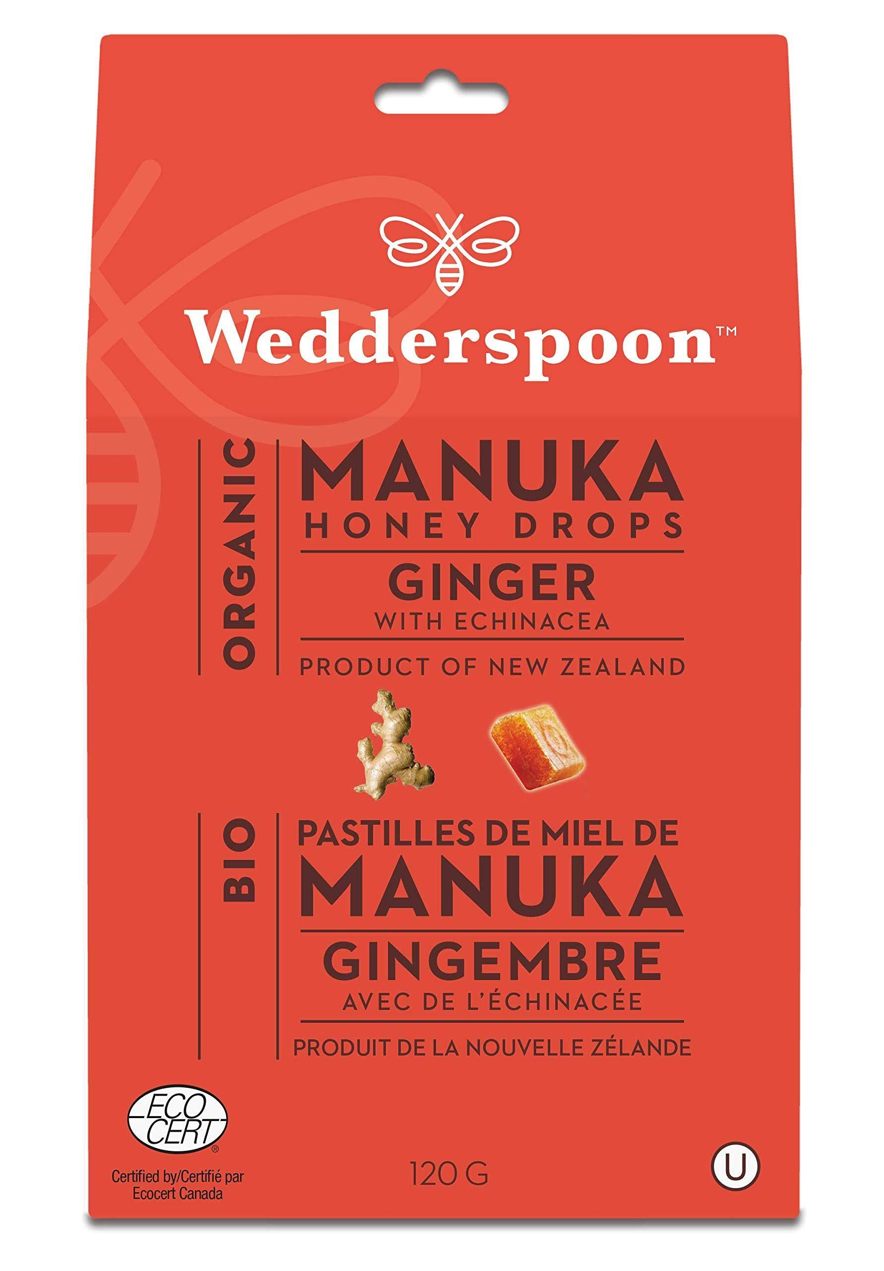 Wedderspoon Organic Manuka Honey Drops - Ginger, 120g