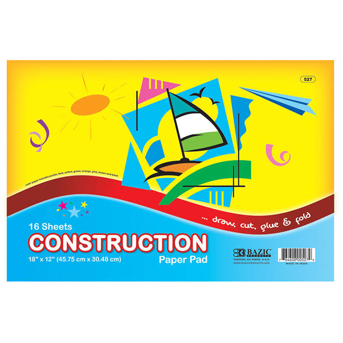 Bazic Construction Paper Pad - 18in x 12in, 16pcs