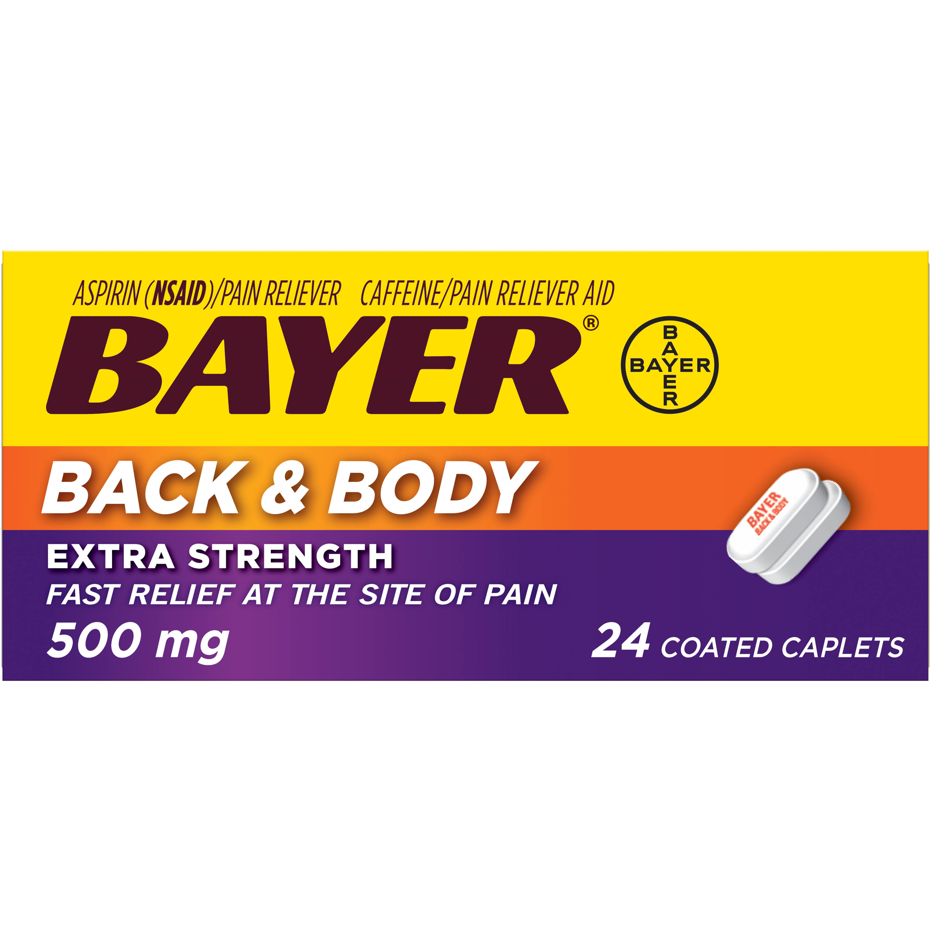 Bayer Back & Body Extra Strength Coated Caplets - 500mg, 24 Pack