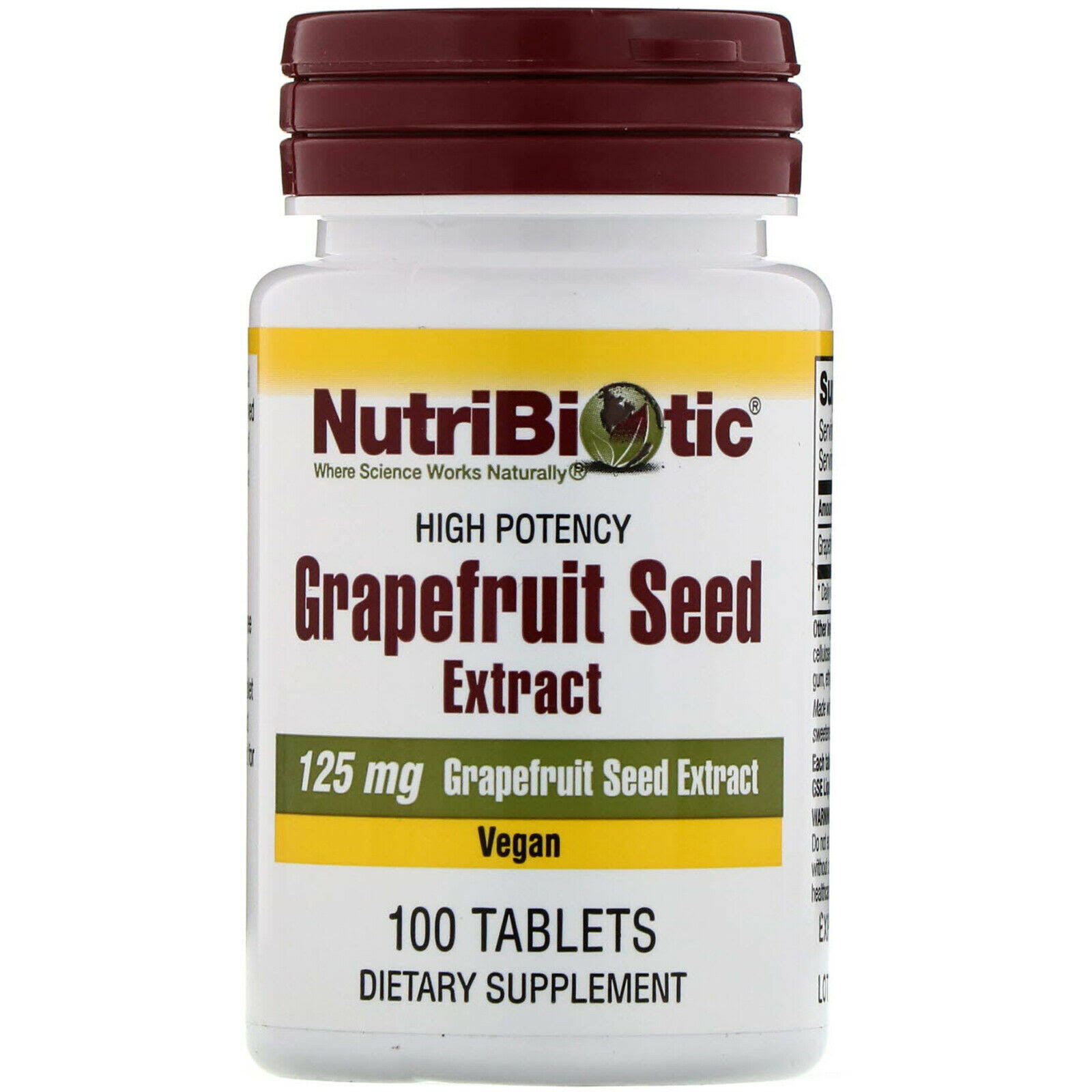 Nutribiotic 125mg Grapefruit Seed Extract - 100 Tablets