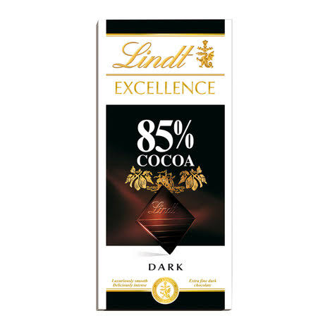 Lindt Excellence Dark 85 Percent Cocoa Chocolate Bar, 100 G