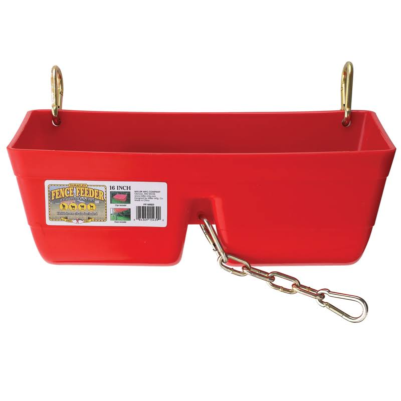 "Little Giant Fence Horse Feeder - with Clips and Chain, 16"", Red"