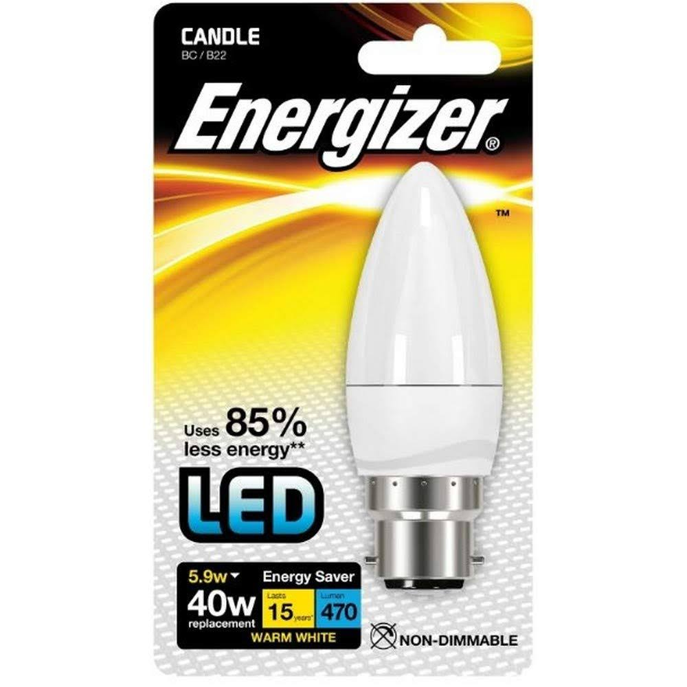 Energizer B22 Warm White Blister Pack Candle - 5.9w