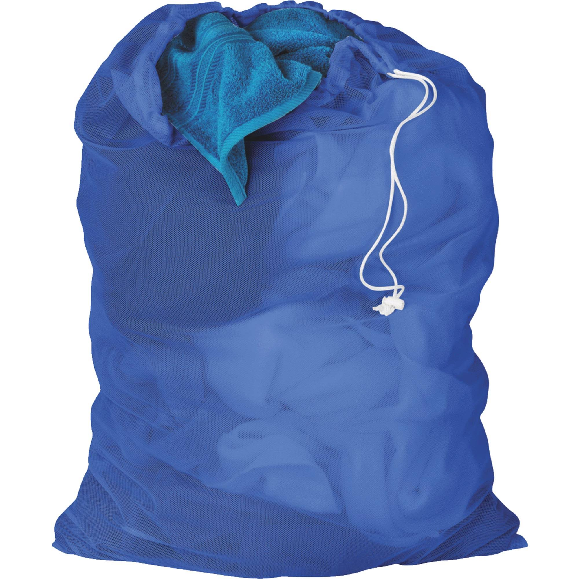 "Honey Can Do Mesh Laundry Bag - with Drawstring, Blue, 24"" x 36"""