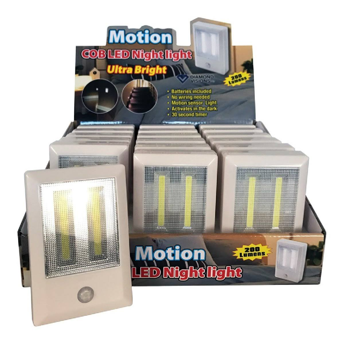 Diamond Visions 08-1899 Motion COB LED Night Light, 200 Lumens