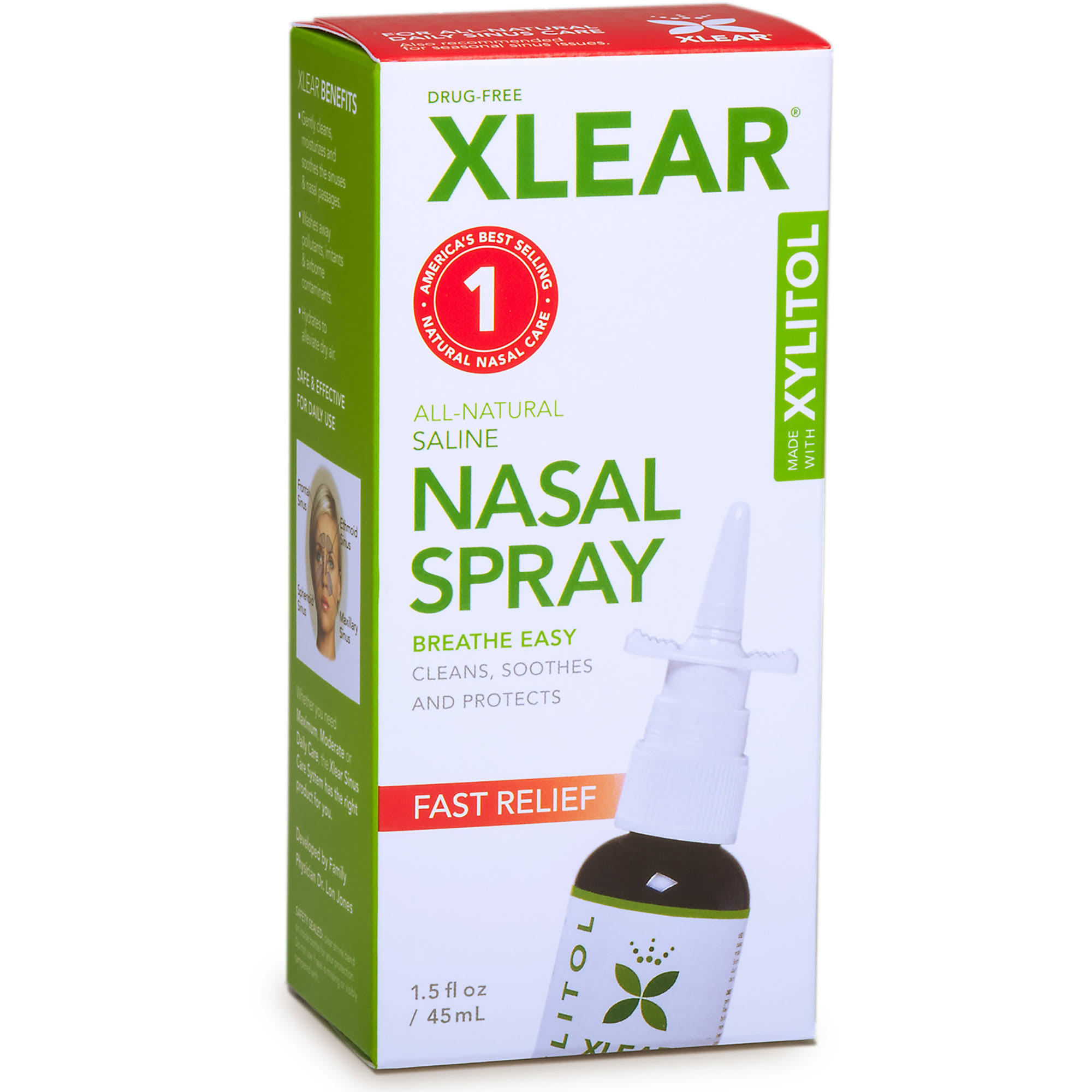 Xlear Nasal Spray with Xylitol, Natural Saline - 1.5 fl oz dropper
