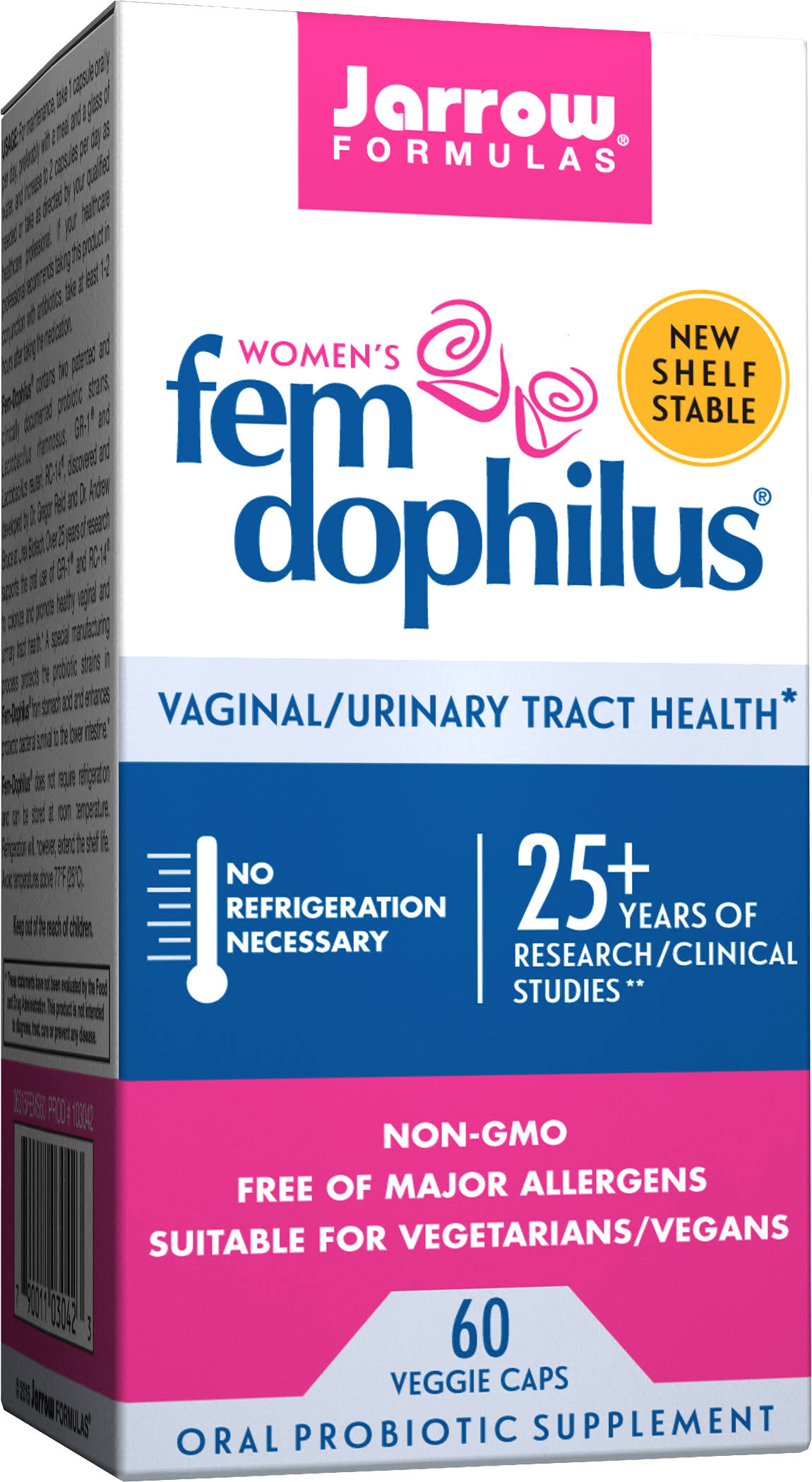 Jarrow Formulas Women's Fem-Dophilus Supplement - Supports Vaginal and Urinary Tract Health, 60 Capsules