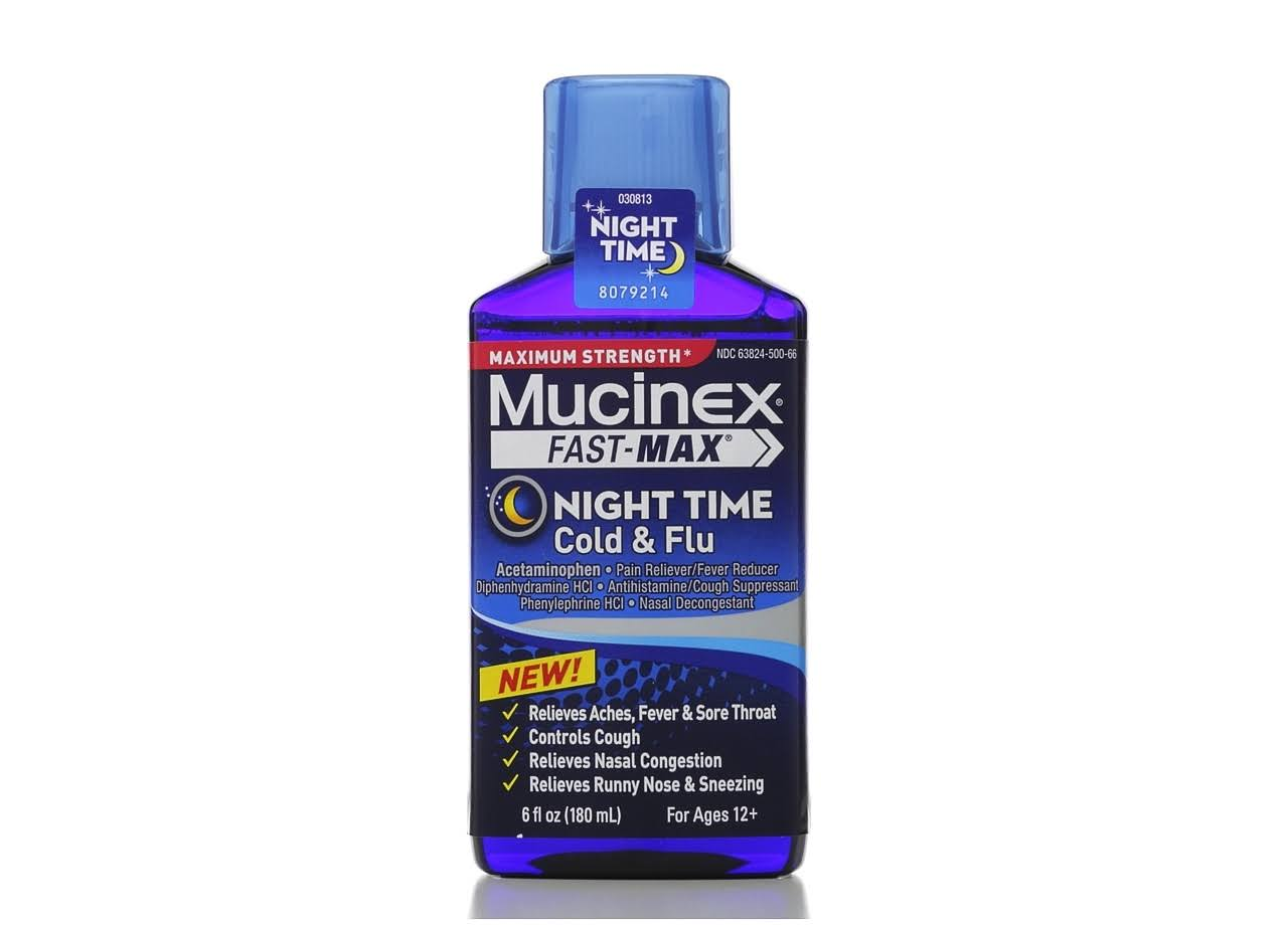 Mucinex Fast-Max Adult Nighttime Cold and Flu Liquid - 6 oz