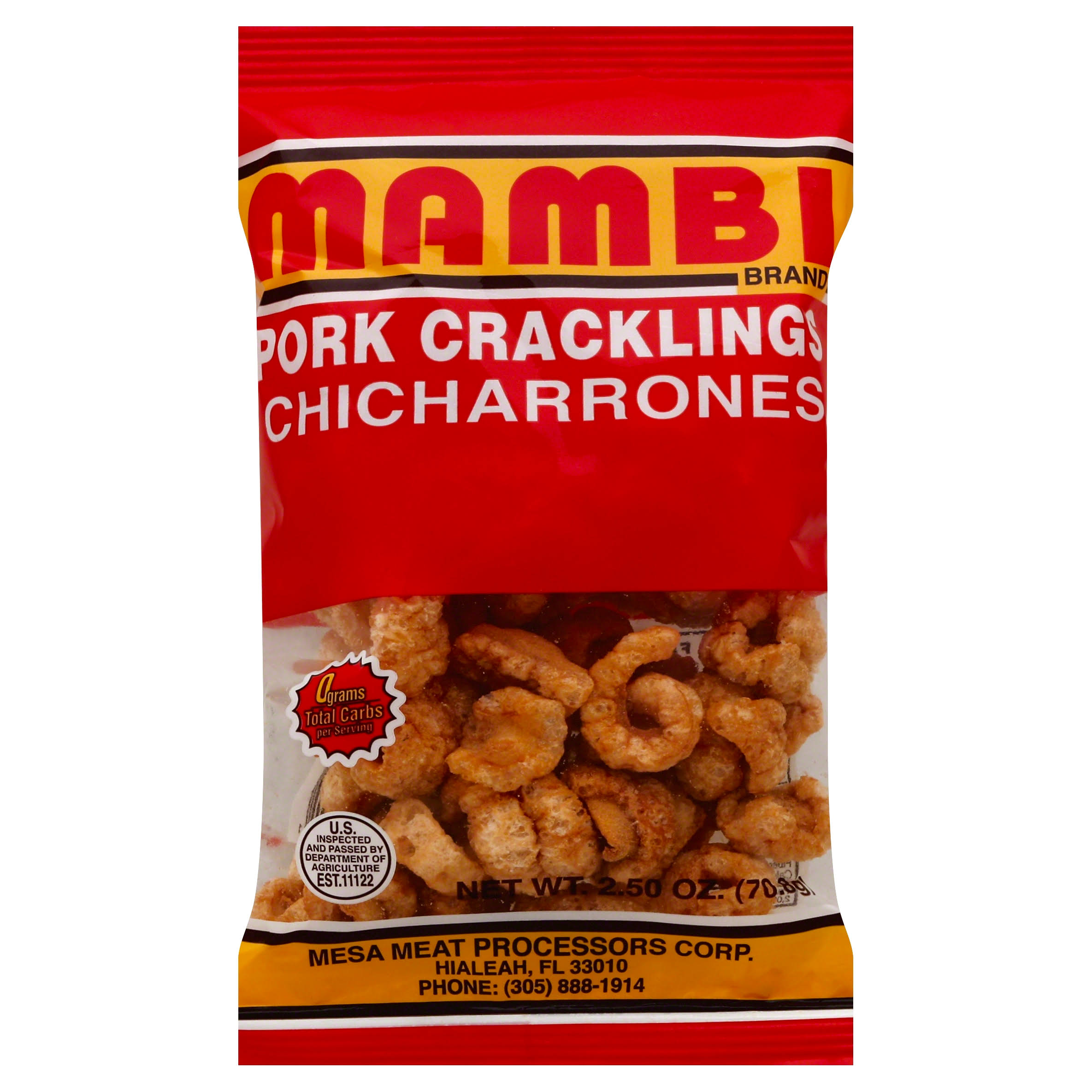 Mambi Pork Cracklings Chicharrones - 2.5oz