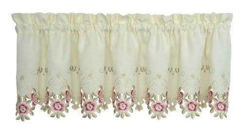 "Today's Curtain Verona 14"" Valance, Ecru Rose"