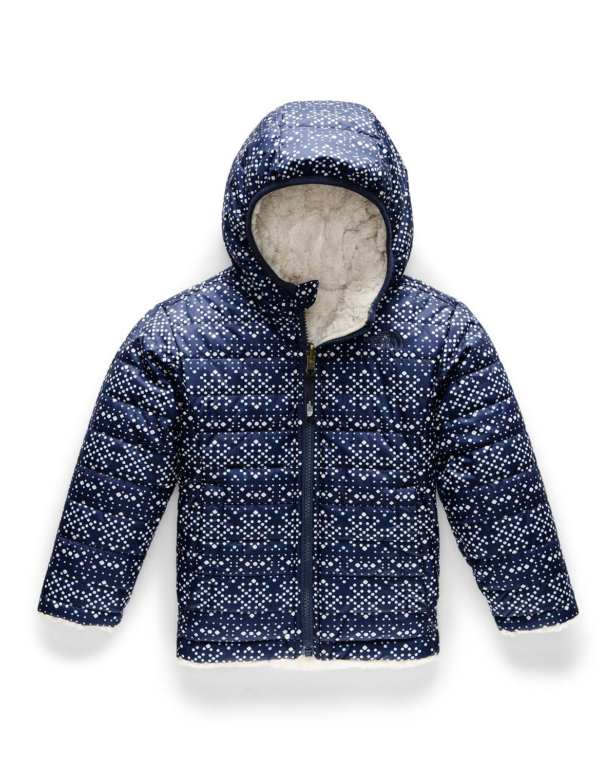 The North Face Toddler Girls' Reversible Mossbud Swirl Jacket - 4T - Montague Blue Sparkle Geo Print