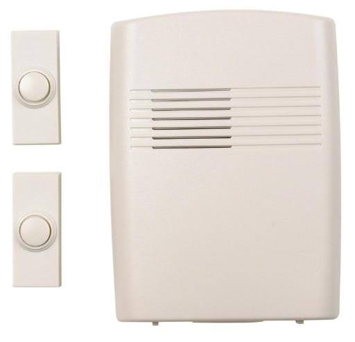 Heath Zenith SL776202 Battery Operated Wireless 2 Button Door Chime - White