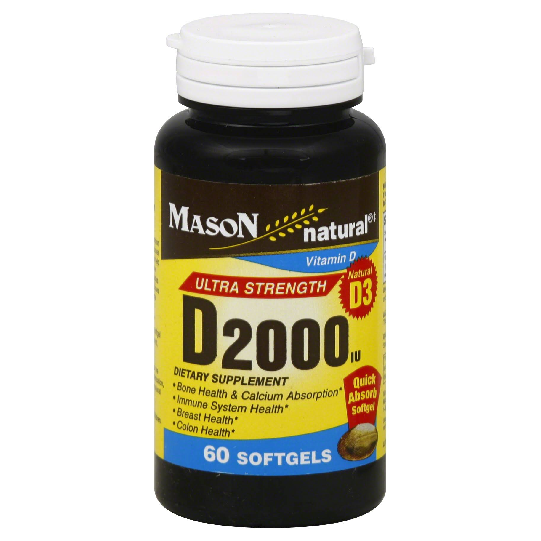 Mason Natural Ultra Strength Vitamin D Softgels - 2000iu, x60