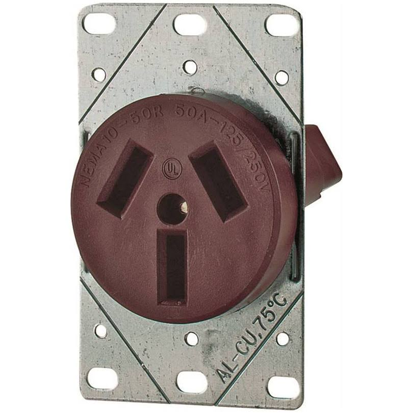 Cooper Wiring Devices Power Range Receptacle - 50A, Brown