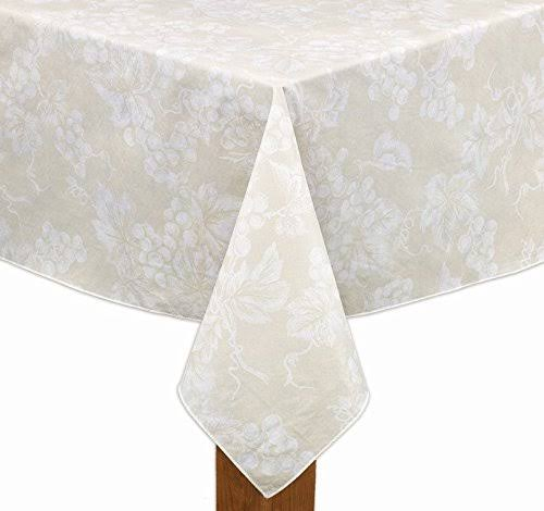 Lintex Grapevine Vinyl Tablecloth 52x70 Rectangle Ivory