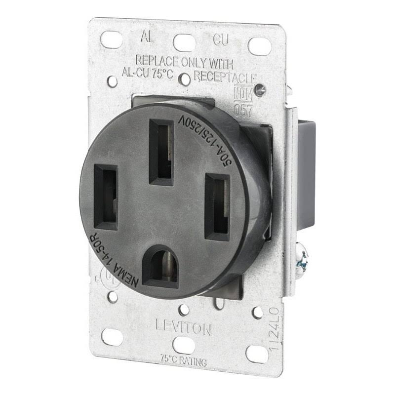 Leviton 50 Amp Flush Mount Shallow Single Outlet - Black